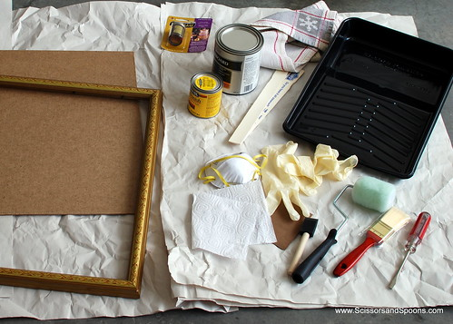 Supplies for DIY Framed Chalkboard