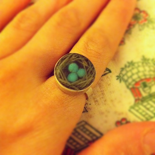 My cute ring by Fernworks. It is a miniature nest complete with bird eggs! I can't wait to have baby birds.