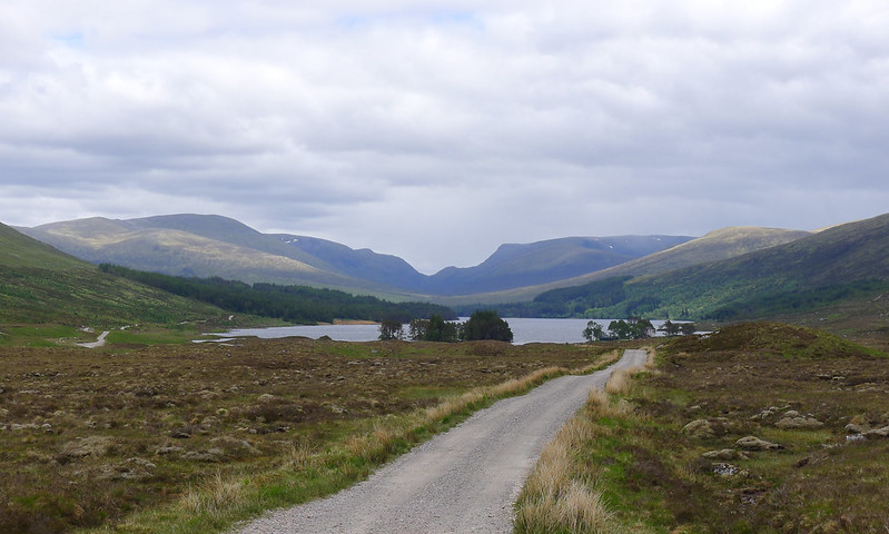 Loch Ossian and the Ben Alder hills