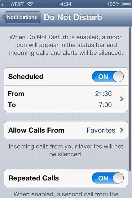iOS 6 - Do Not Disturb