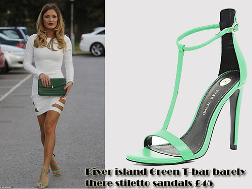 River island Green T-bar barely there stiletto sandals