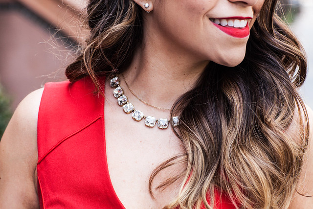 a_red Dress banana republic jcrew necklace work wear corporate blog what to wear to work hair corporate hair statement necklace red lipstick dresses to wear to work fashion blogger style blogger