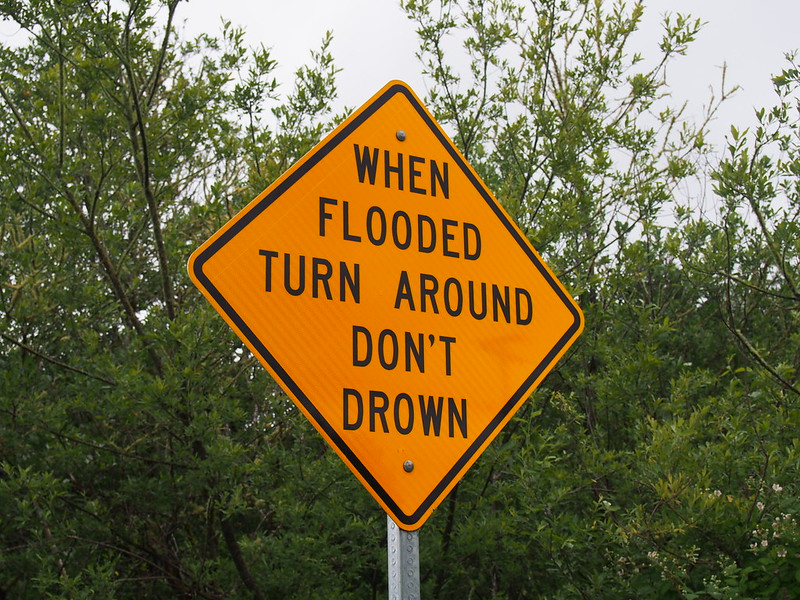 """When flooded, turn around and don't drown"": On Central Park Drive"