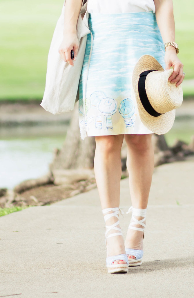 cute & little blog | petite fashion | straw sun hat, white strappy tank, printed beach skirt, sole society sena lace-up espadrilles, ray ban aviators, j.jill turquoise bead necklace | spring summer outfit