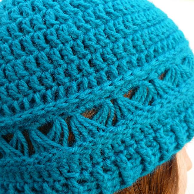 Peacock blue lace trim hat