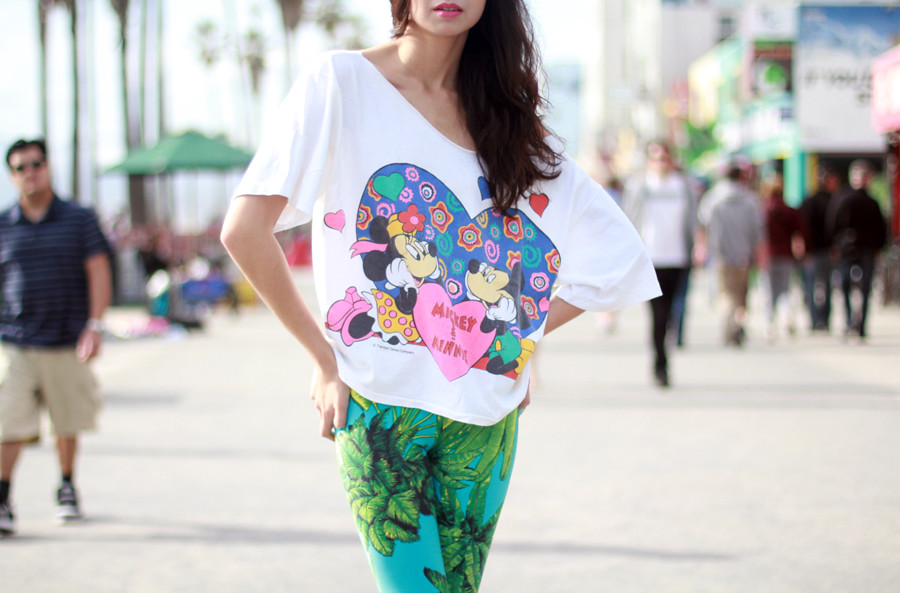 Tarte vintage Mickey and Minnie off the shoulder tee, Versace for H&M malibu leggings from shoptarte.com