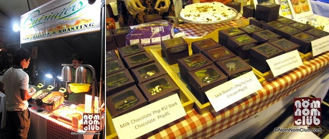 Cuisiniers (left); Milk Chocolate booth (right)