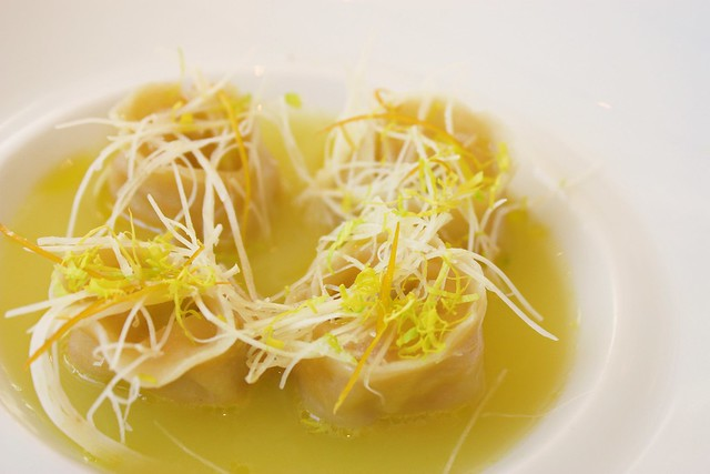 Peekytoe Crab Dumplings with Celeriac-Meyer Lemon Tea at Jean Georges New York 2