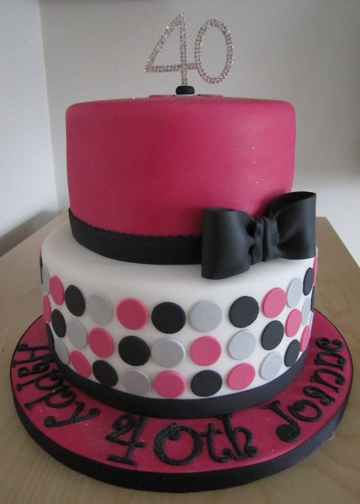 Pink Black Silver And White 40th Birthday Cake