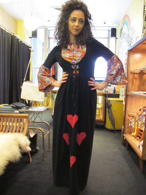 ♥♥♥ 1960s maxi dress with embroidered hearts from Granny's Day Out. ♥♥♥