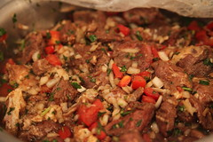 produce(0.0), jambalaya(0.0), vegetable(1.0), meat(1.0), food(1.0), dish(1.0), stuffing(1.0), cuisine(1.0),
