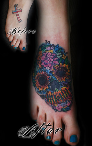 Nice skull tattoos photos find me a tattoo for Ankle cover up tattoos