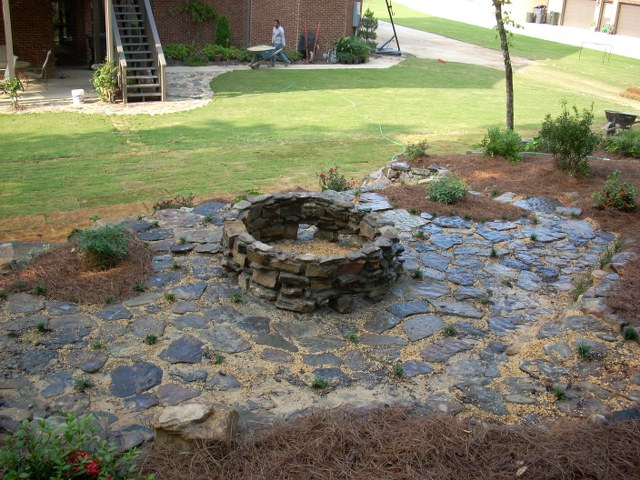 Outdoor stone fire pit flickr photo sharing