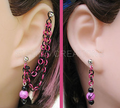 Pink and Black Cartilage Chain Earring Pair