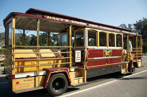 The wedding transport: a cable car-style bus!