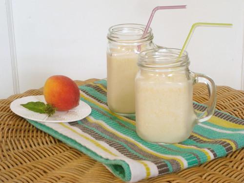 Peach Basil Milkshakes