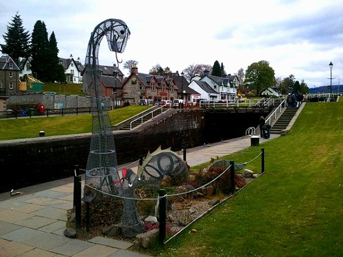 Loch Ness Monster & baby sculptures at Fort Augustus in the Scottish Highlands