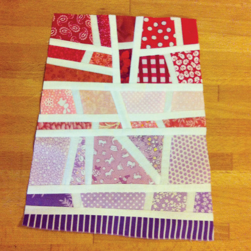 red-pink-purple mod mosaic quilt block