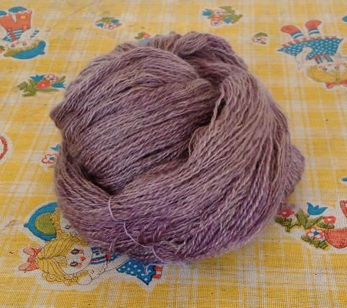 Final final project yarn. Dyed with logwood, alum mordant