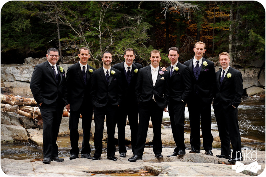 Groomsmen on the rocks at Jackson Falls, New Hampshire