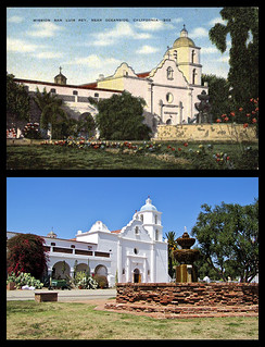 photo & postcard - Mission San Luis Rey de Francia Then & Now