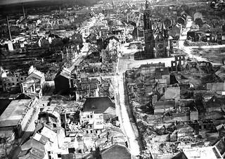 Vista aérea tras la Segunda Guerra Mundial (Mönchengladbach, 1945)