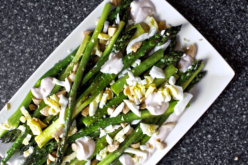 asparagus with almonds and yogurt dressing | smitten kitchen