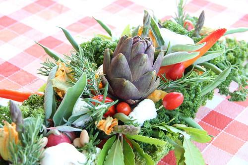 particolare centrotavola verdure