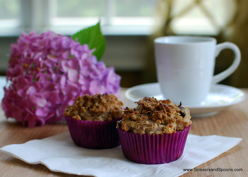 Cherry & Yogurt Bran Muffins with Brown Sugar Butter Topping