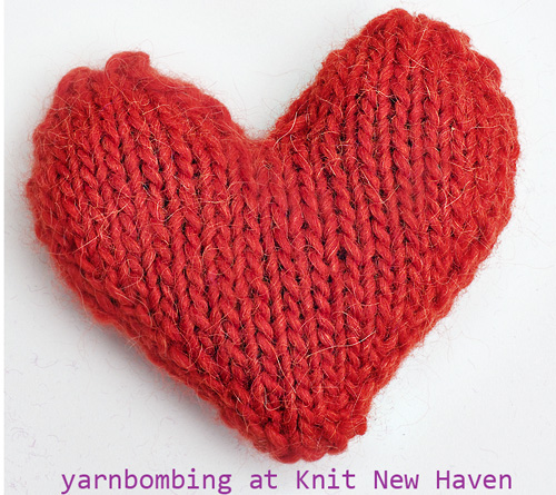 Yarnbombing outside Knit New Haven