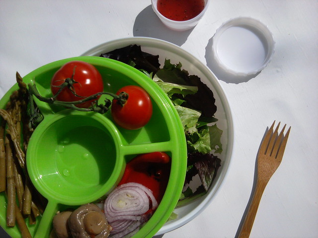 Ez freeze Stay Fit salad kit filled with fresh salad