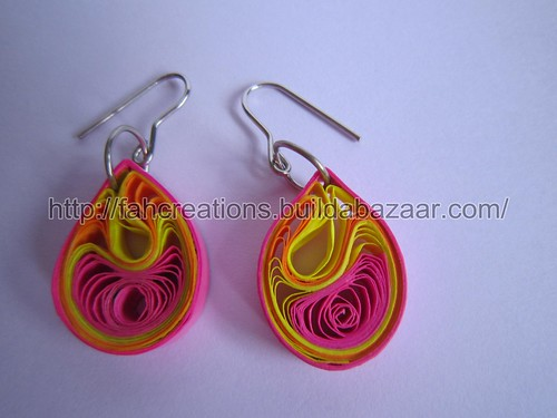 Handmade Jewelry - Paper Quilling Teardrops Earrings(Jaali Pattern 2-1) - QT-J2 by fah2305