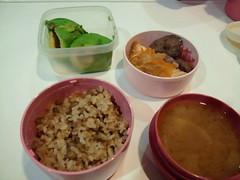 今日はフォトリーディング二日目、今日もマイ弁当持参です。鳥レ バーの煮物、鮭の野菜あんかけ、アボガド、豆ご飯と味噌汁です