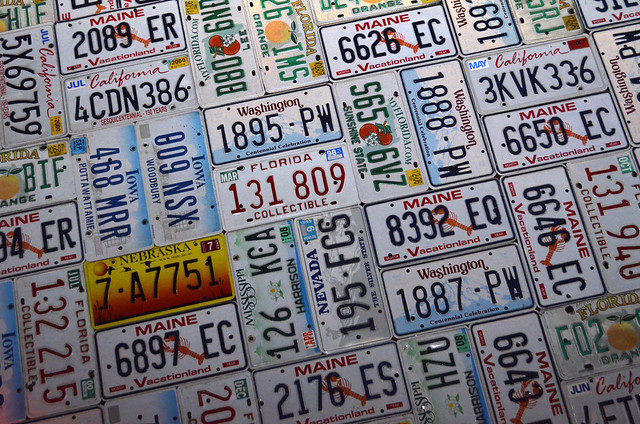 Licence plates on the Cadillac Ranch wall