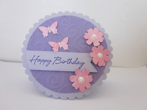 Pink and purple shaped card