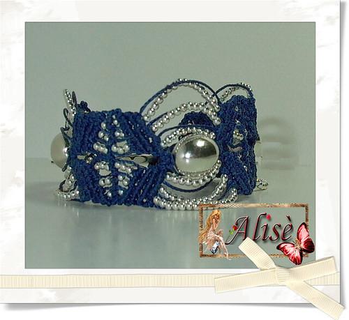 Pulsera Macrame azul y plata by Alisè