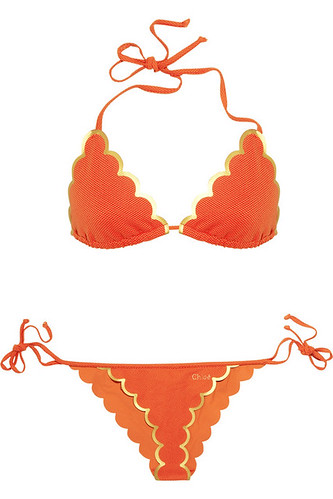 Orange Scalloped Triangle Bikini