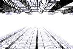 [フリー画像素材] 建築物・町並み, ビルディング, モノクロ ID:201204221400