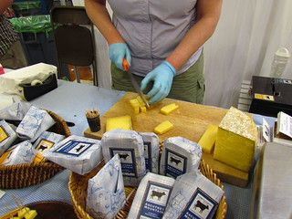 Cutting cheese samples.