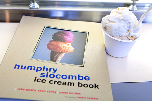 Cup of Secret Breakfast and Blue Bottle Vietnamese Coffee ice cream with my copy of their book