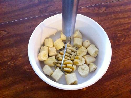 Mashing Bananas in Flat Bottomed Bowl