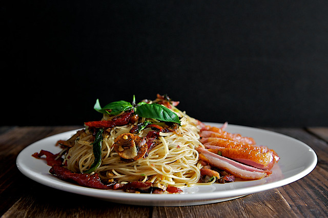 Smoked Duck and Sundried Tomato Aglio Olio Angel Hair Pasta