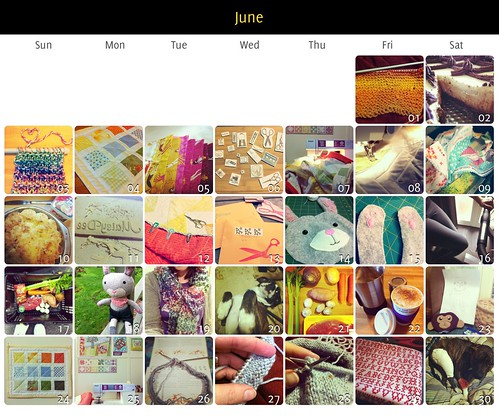 Calendar collage of projects started and completed in June 2012