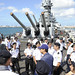 Sailors assigned to the Republic of Singapore navy RSS Formidable tour the Battleship Missouri Memorial.