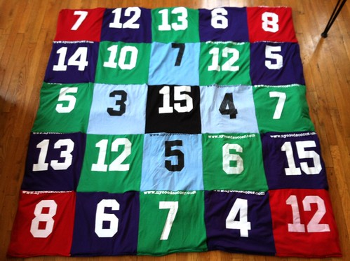 Soccer jersey quilt back