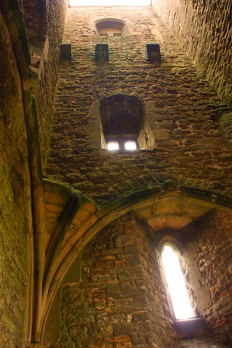 Inside the tower on Glastonbury Tor