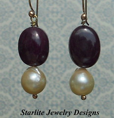 Natural Ruby Cabochon and Baroque Pearl Drop Earrings