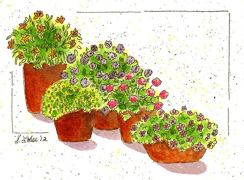 Patio Garden, ink and watercolor