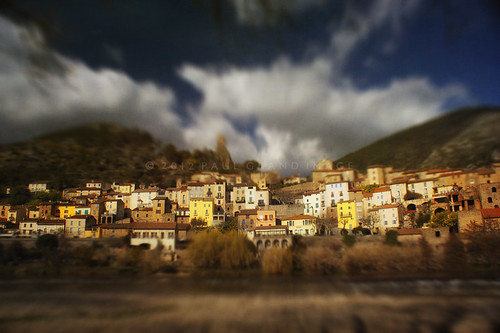 Tilt Shifted Village of Roquebrun in the South of France
