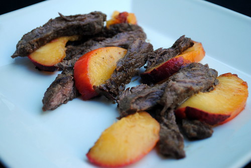 Grilled Skirt Steak & Peaches